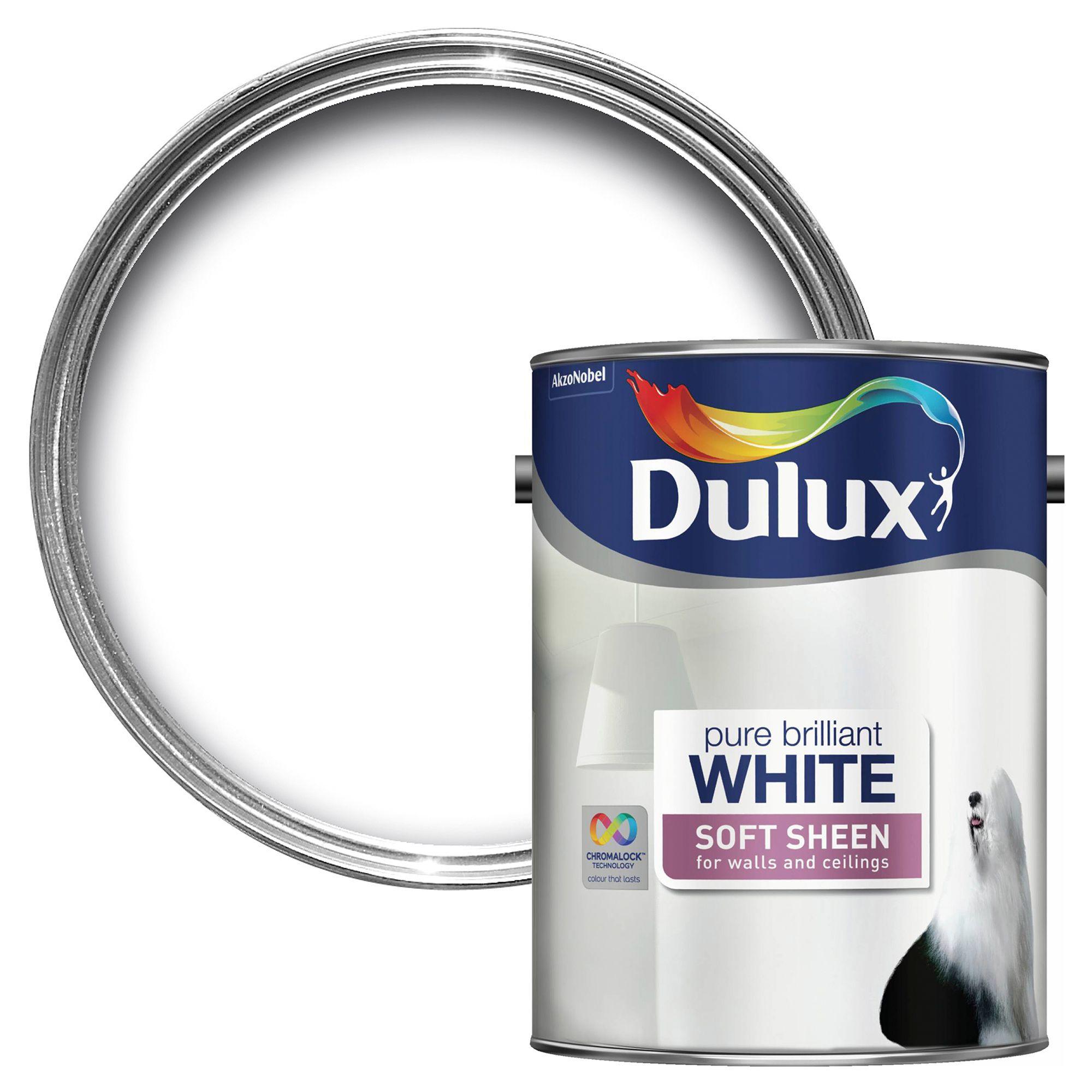 Dulux Pure Brilliant White Soft Sheen Emulsion Paint 5 L Departments Diy At B Q