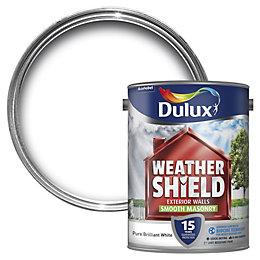 Dulux Weathershield Pure brilliant white Smooth Masonry paint