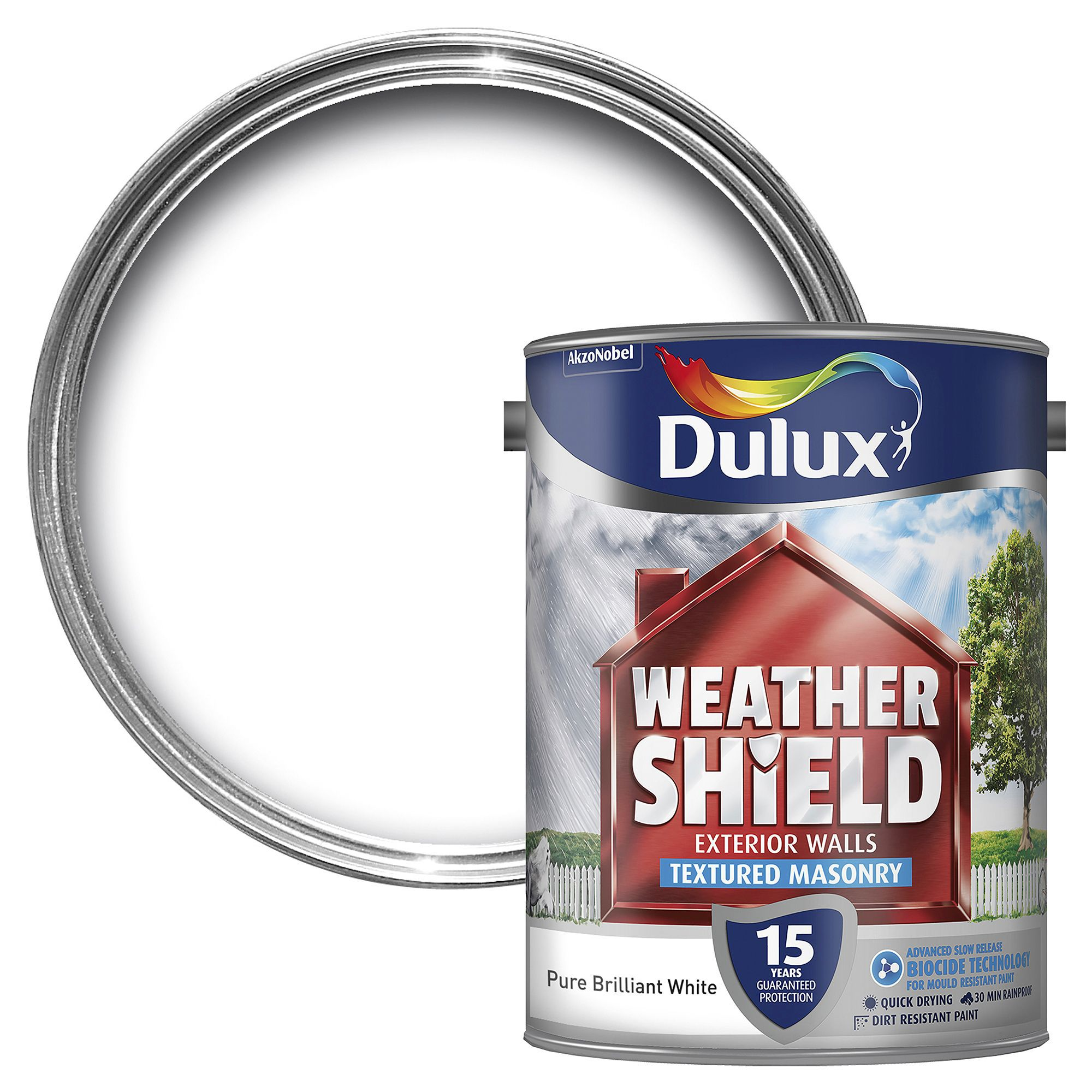 Dulux Weathershield Pure brilliant white Textured Masonry paint 5L
