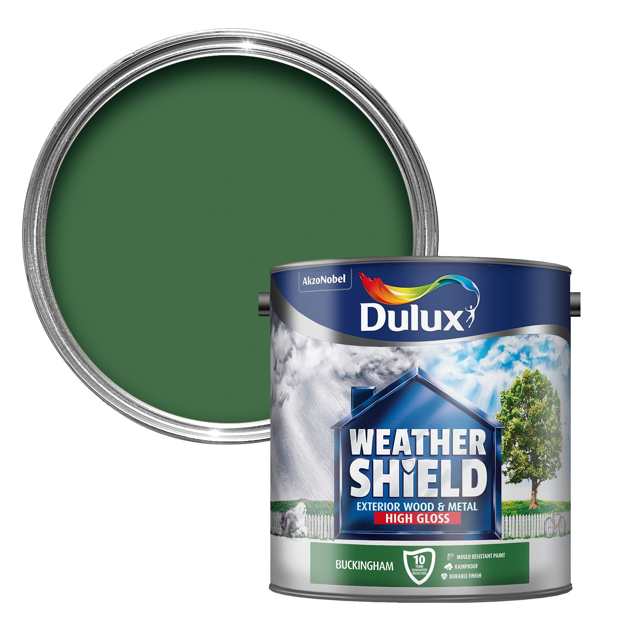 Dulux weathershield exterior buckingham green gloss wood metal paint 2 5l departments diy - Sadolin exterior wood paint image ...