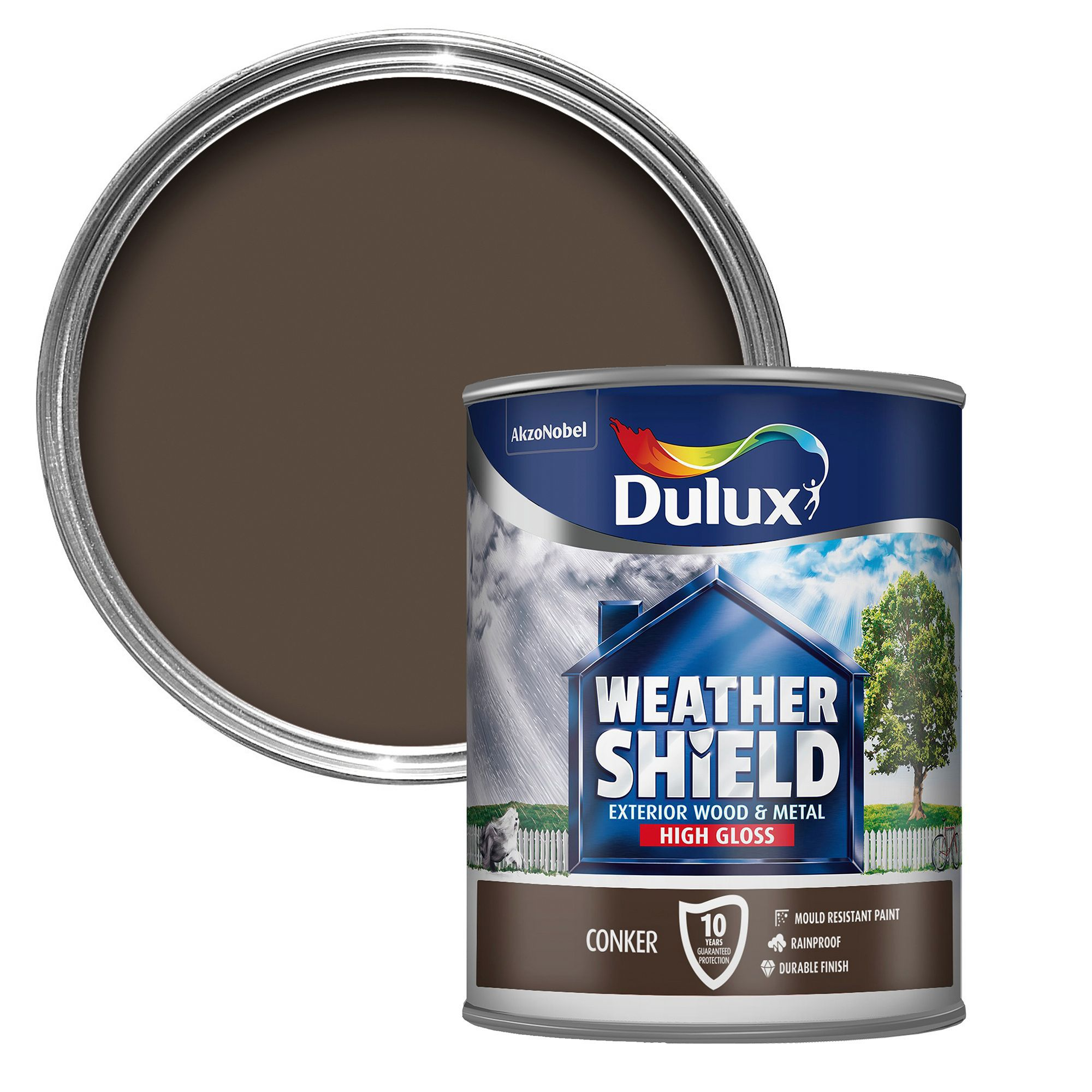 Dulux weathershield exterior conker gloss wood metal paint 750ml departments diy at b q - Dulux exterior gloss paint style ...