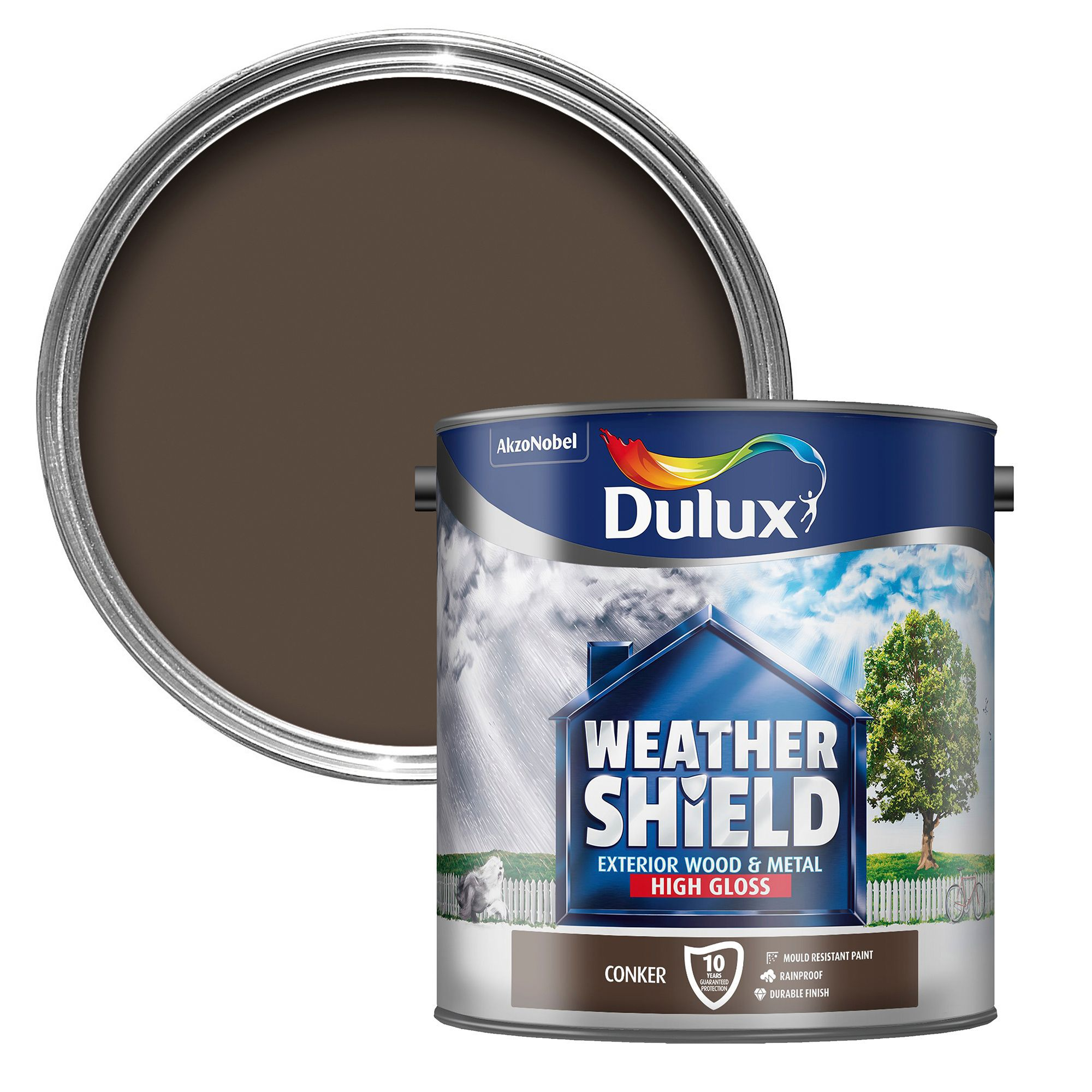 Dulux Weathershield Exterior Conker Gloss Wood Metal Paint 2 5l Departments Diy At B Q