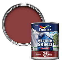 Dulux Weathershield Monarch red Gloss Wood & metal