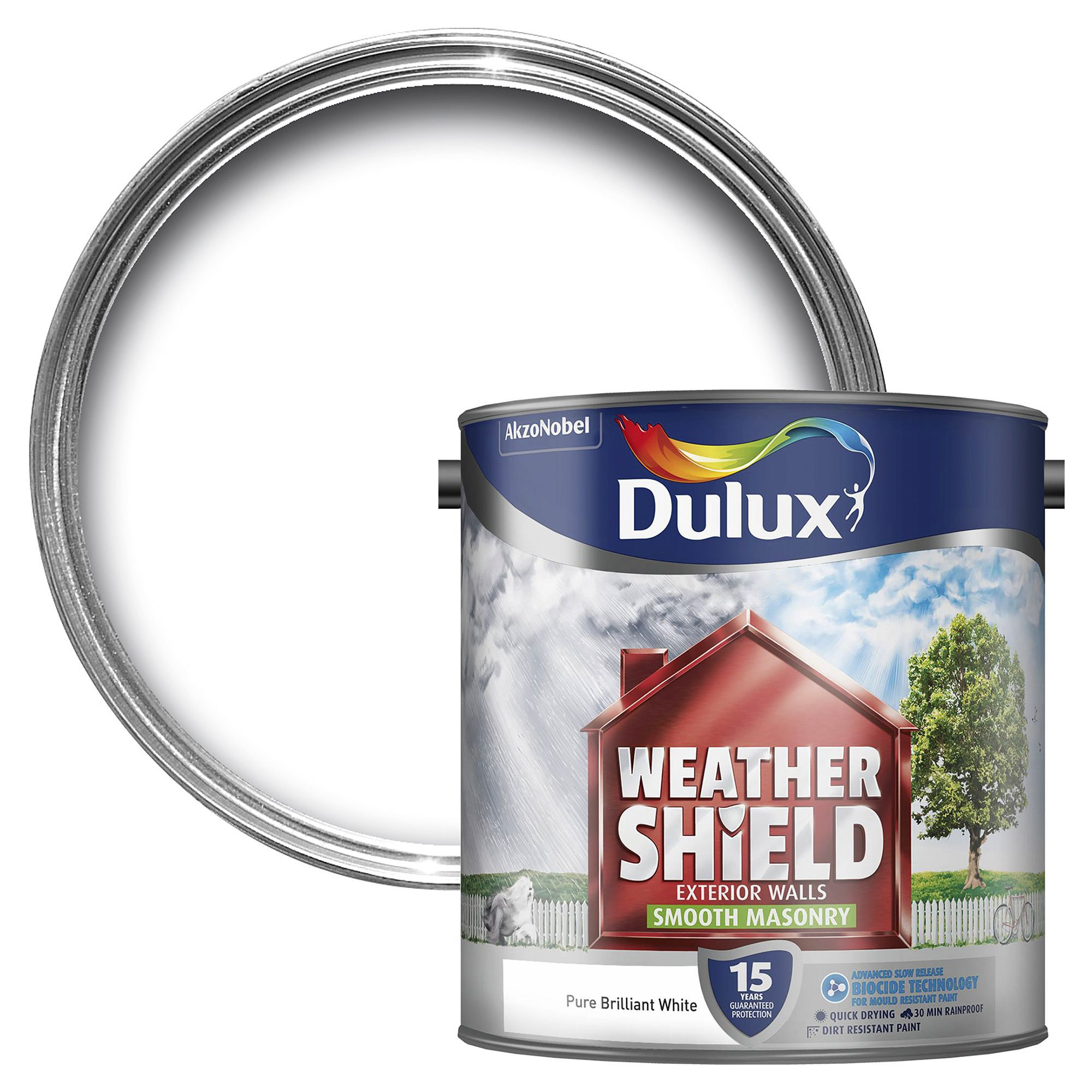 Dulux Weathershield Pure brilliant white Smooth Masonry ...