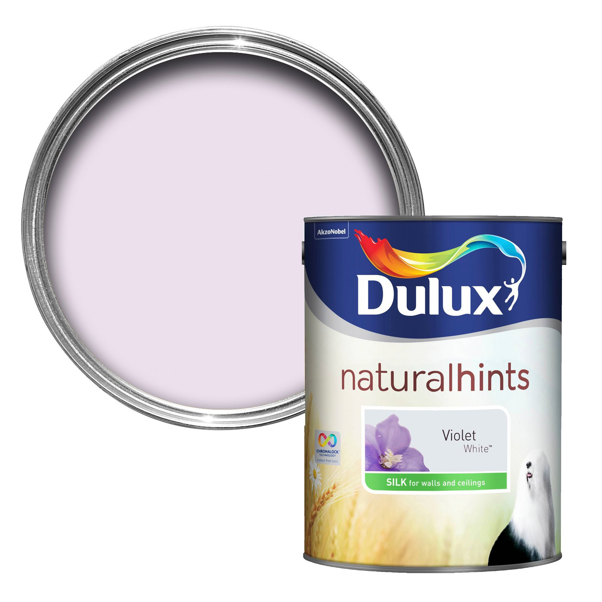 Dulux Violet white Silk Emulsion paint 5L | Departments | DIY at B&Q
