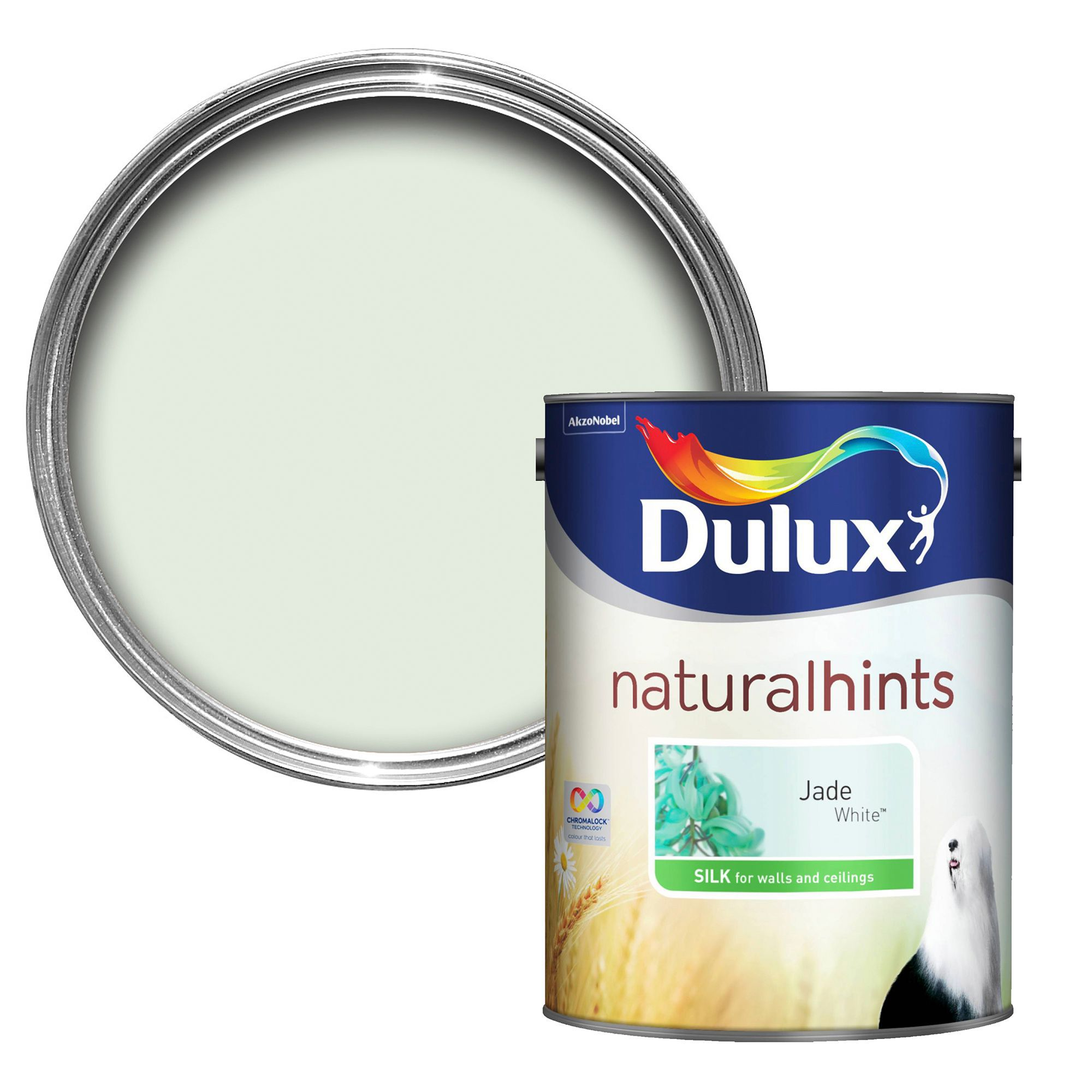 Dulux Luxurious Jade White Silk Emulsion Paint 5l Departments Diy At B Q