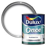 Dulux Pure brilliant white Satinwood Wood & metal paint 0.75L