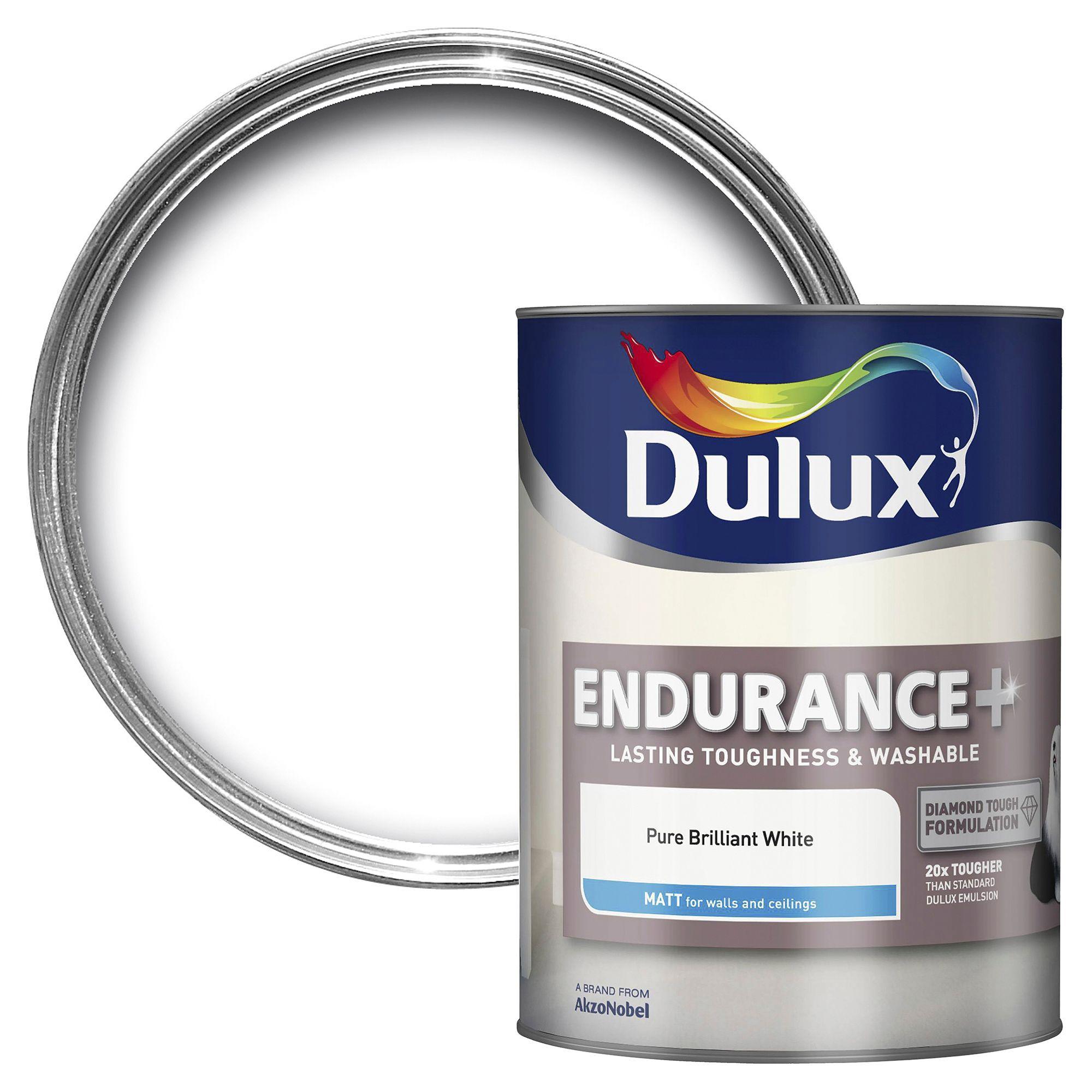 Dulux Endurance Pure Brilliant White Matt Emulsion Paint 5l Departments Diy At B Q