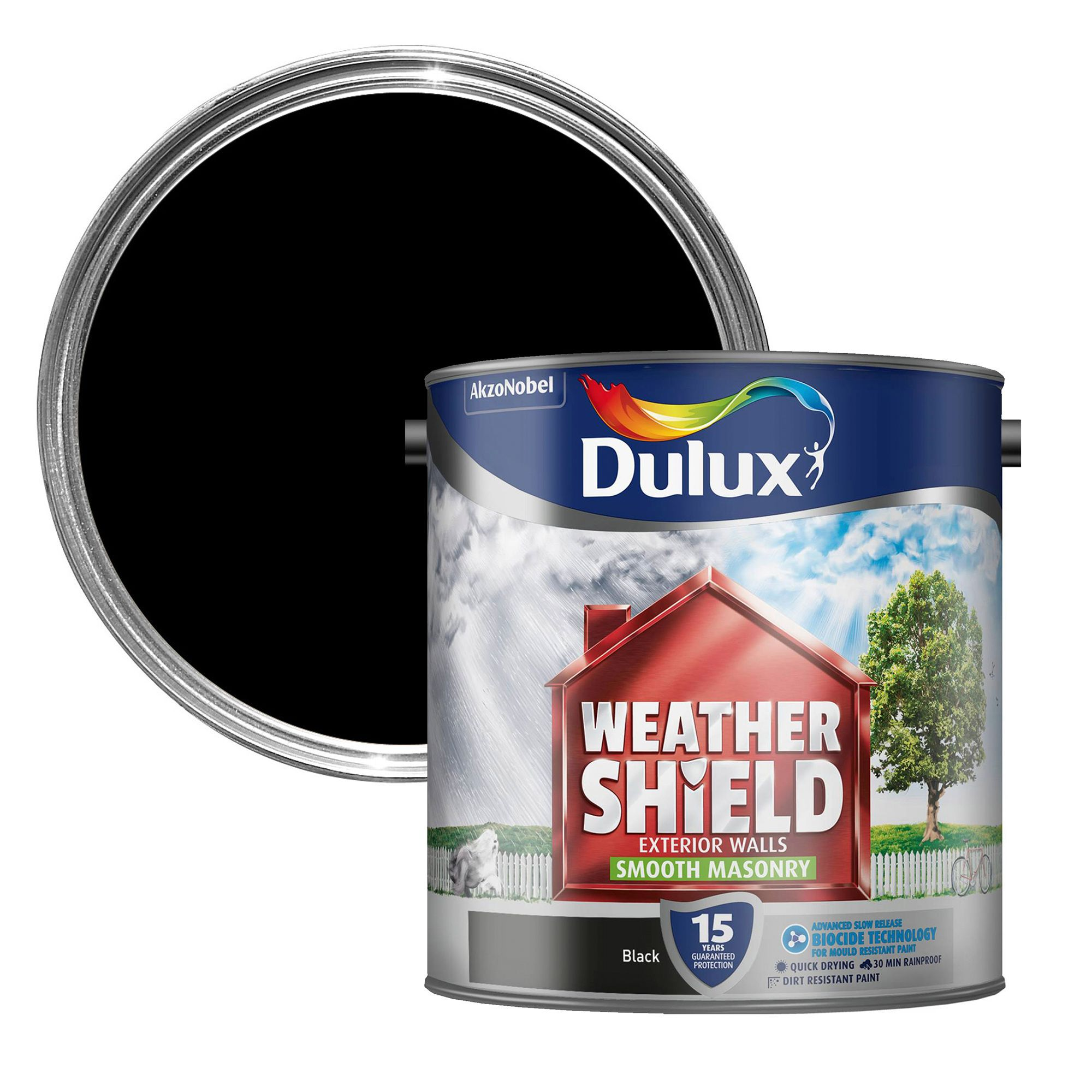 Dulux weathershield black smooth matt masonry paint 2 5l departments diy at b q - Exterior wood paint matt pict ...