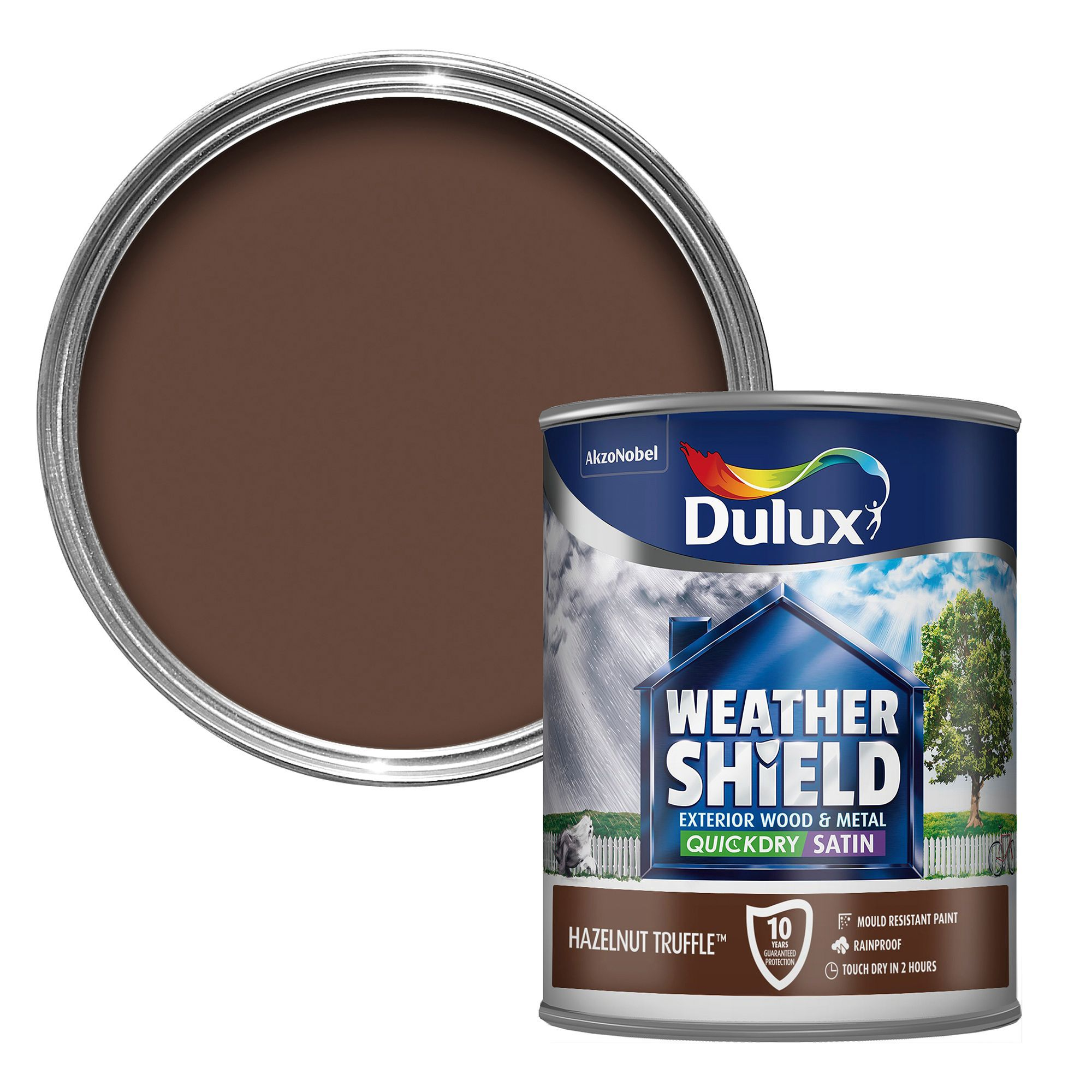 Dulux weathershield exterior hazelnut truffle satin wood metal paint 750ml departments diy - Exterior gloss paint for wood ideas ...