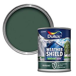 Dulux Weathershield Heathland green Satin Wood & metal