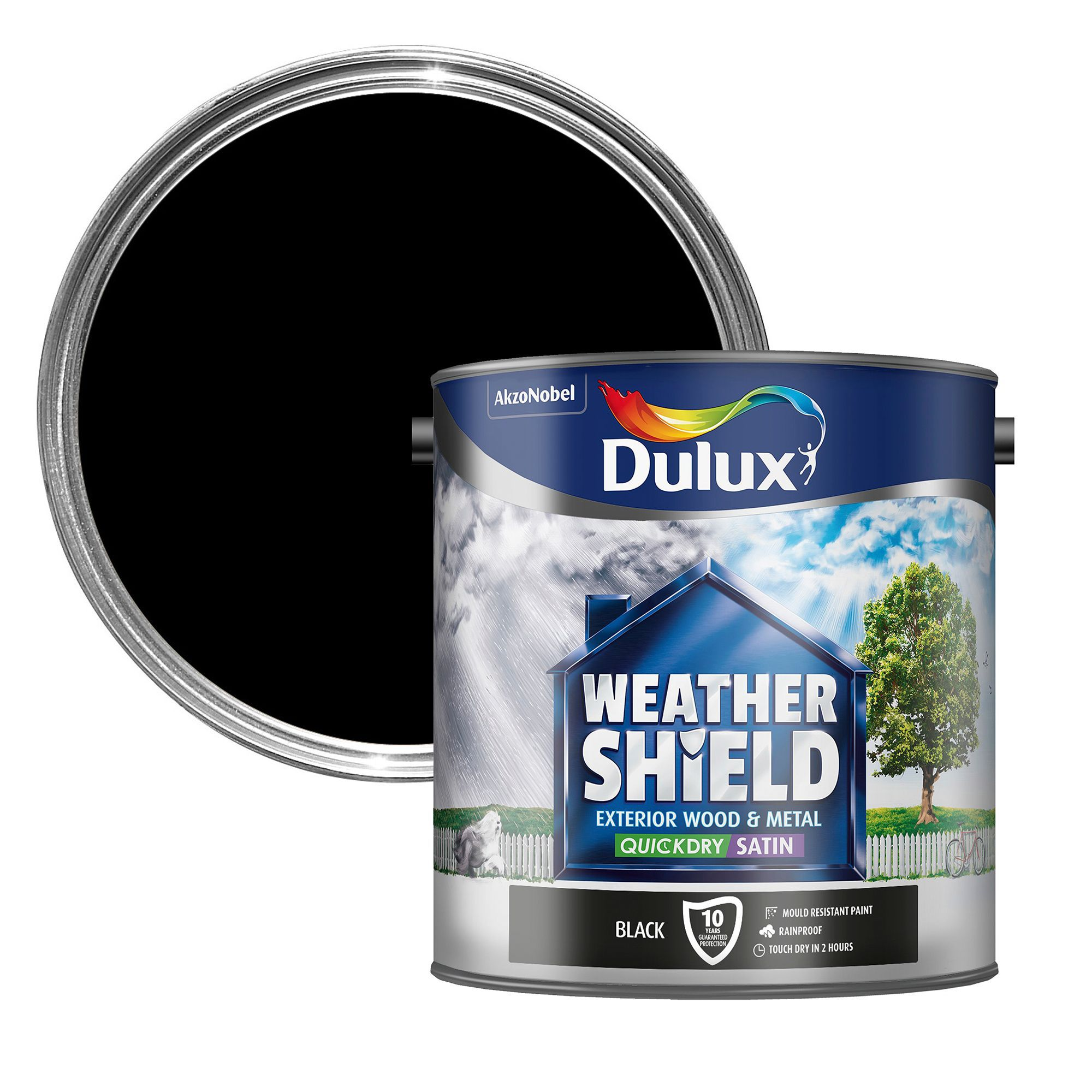 Dulux Weathershield Exterior Black Satin Wood & Metal Paint 25L