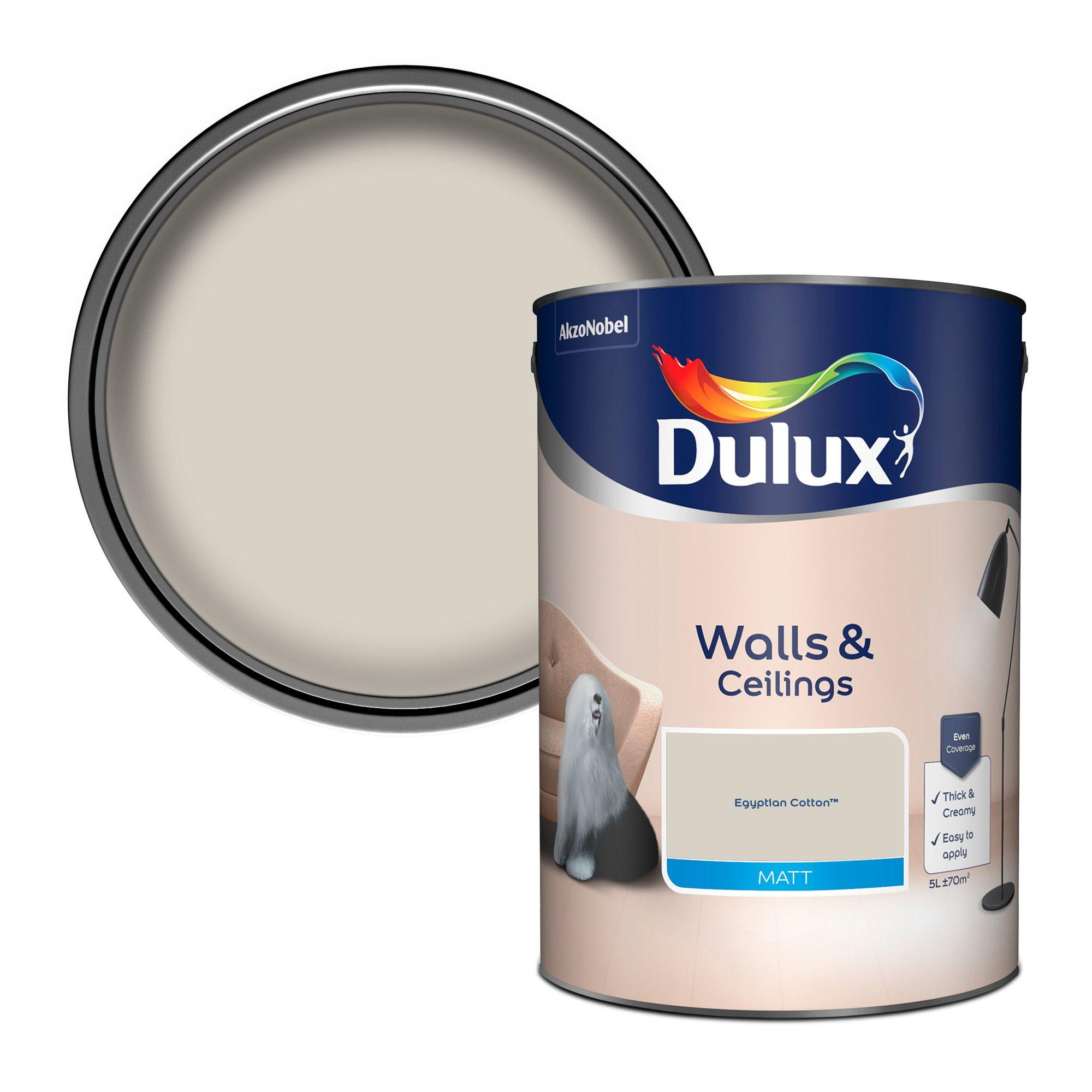 Dulux Egyptian cotton Matt Emulsion paint, 5L | Departments | DIY at B&Q