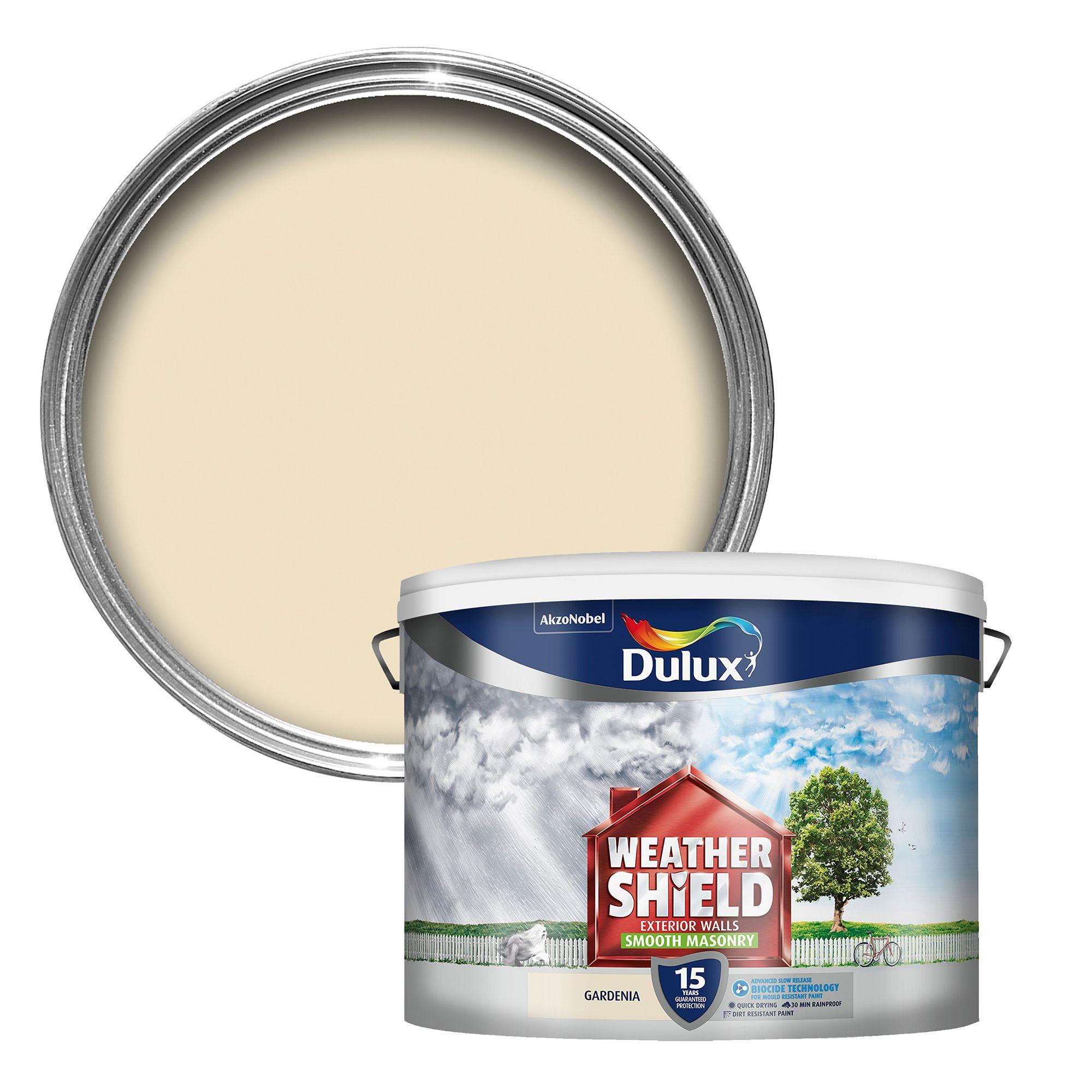 Dulux Weathershield Gardenia Cream Smooth Masonry Paint 10L - Departments