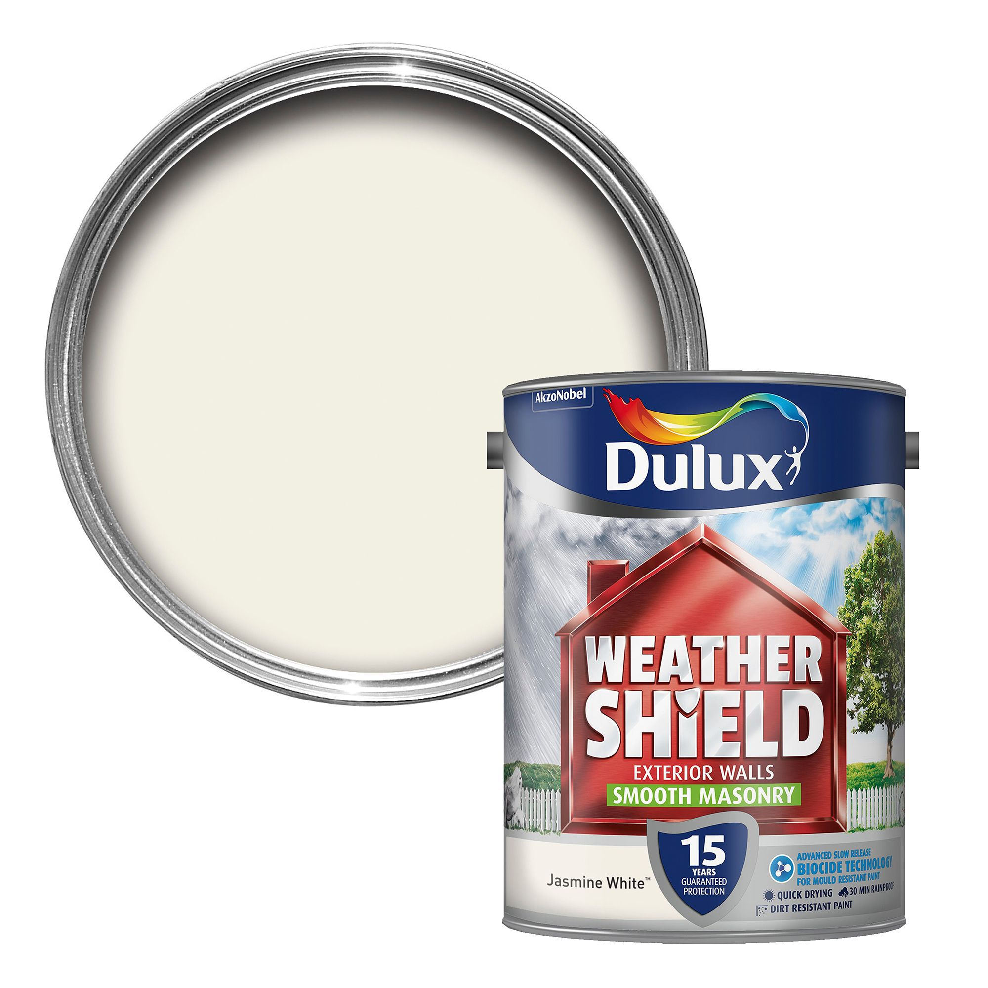 Dulux Weathershield Jasmine White Smooth Masonry Paint 5l Departments Diy At B Q