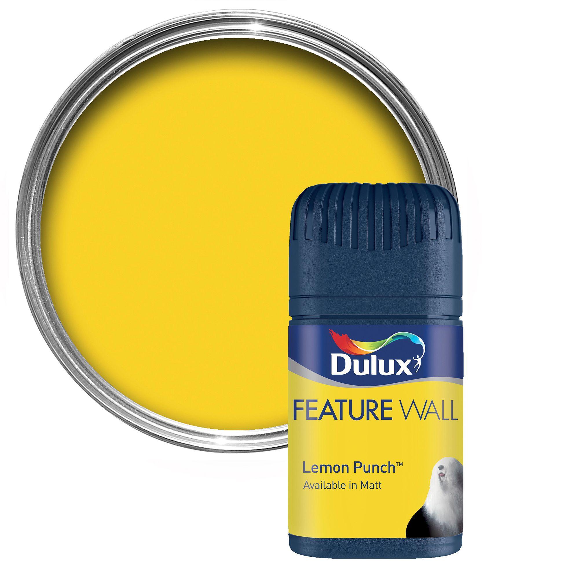 Dulux Feature Wall Lemon Punch Matt Emulsion Paint  Lemon