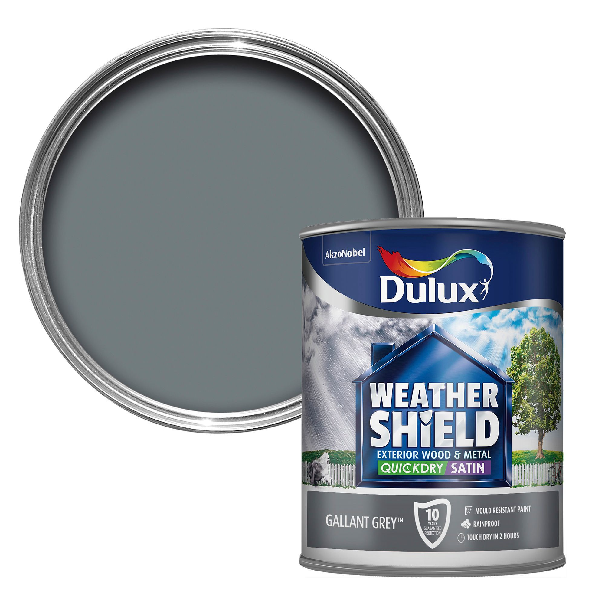 Dulux Weathershield Exterior Gallant Grey Satin Wood Metal Paint 750ml Departments Diy At B Q