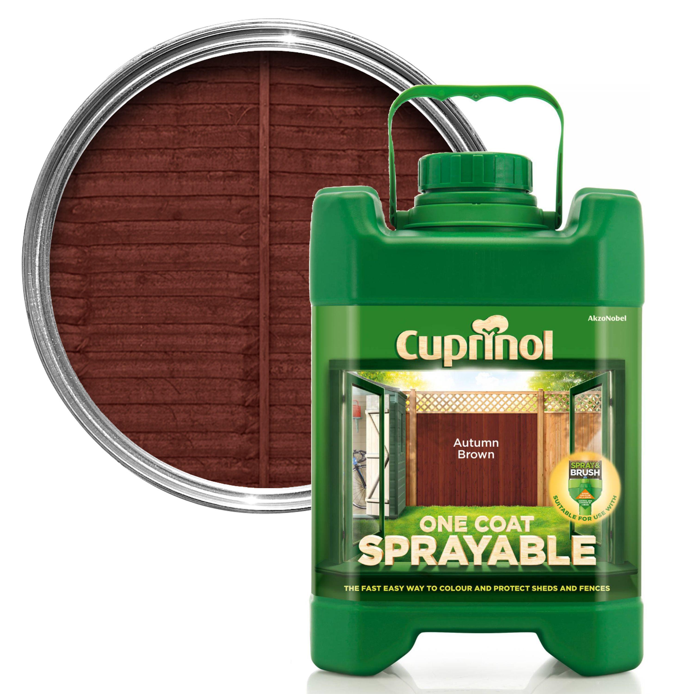 Cuprinol One Coat Sprayable Autumn Brown Shed Fence Treatment 5l Departments Diy At B Q
