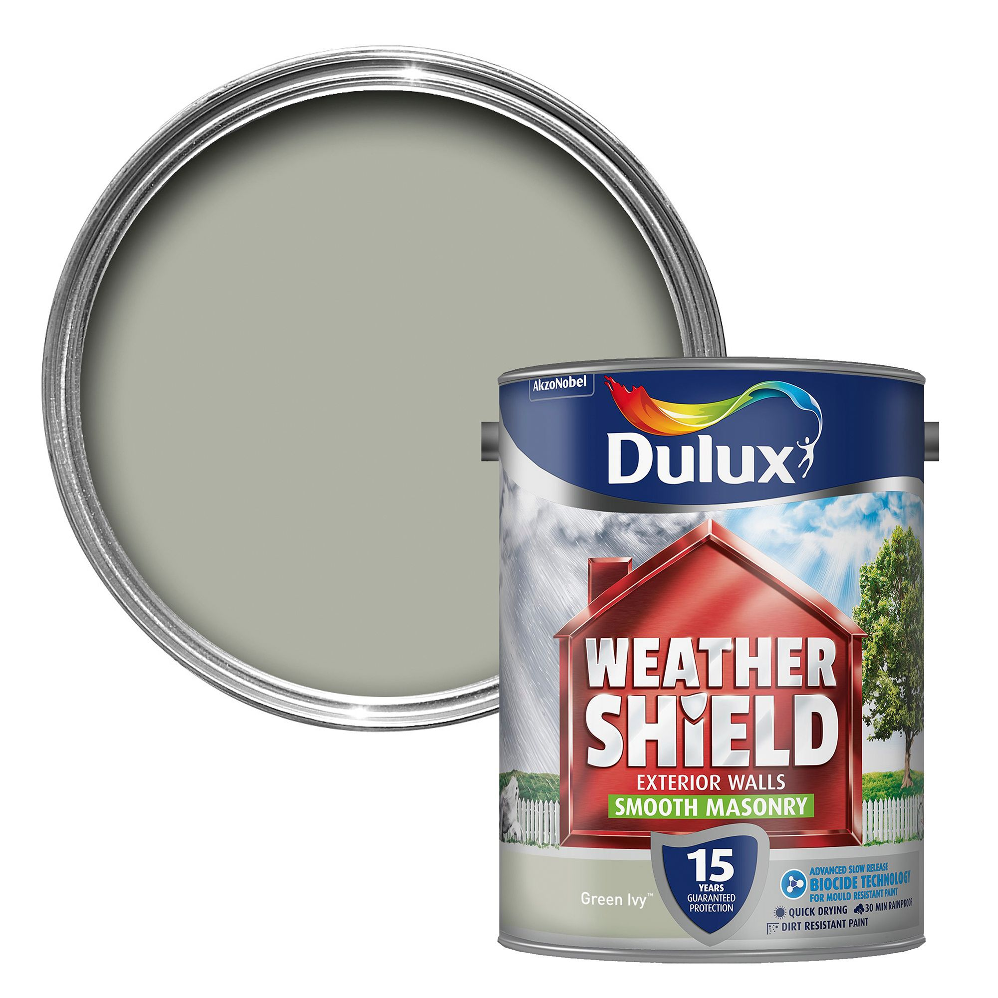 Dulux Weathershield Green Ivy Smooth Matt Masonry Paint 5L ...