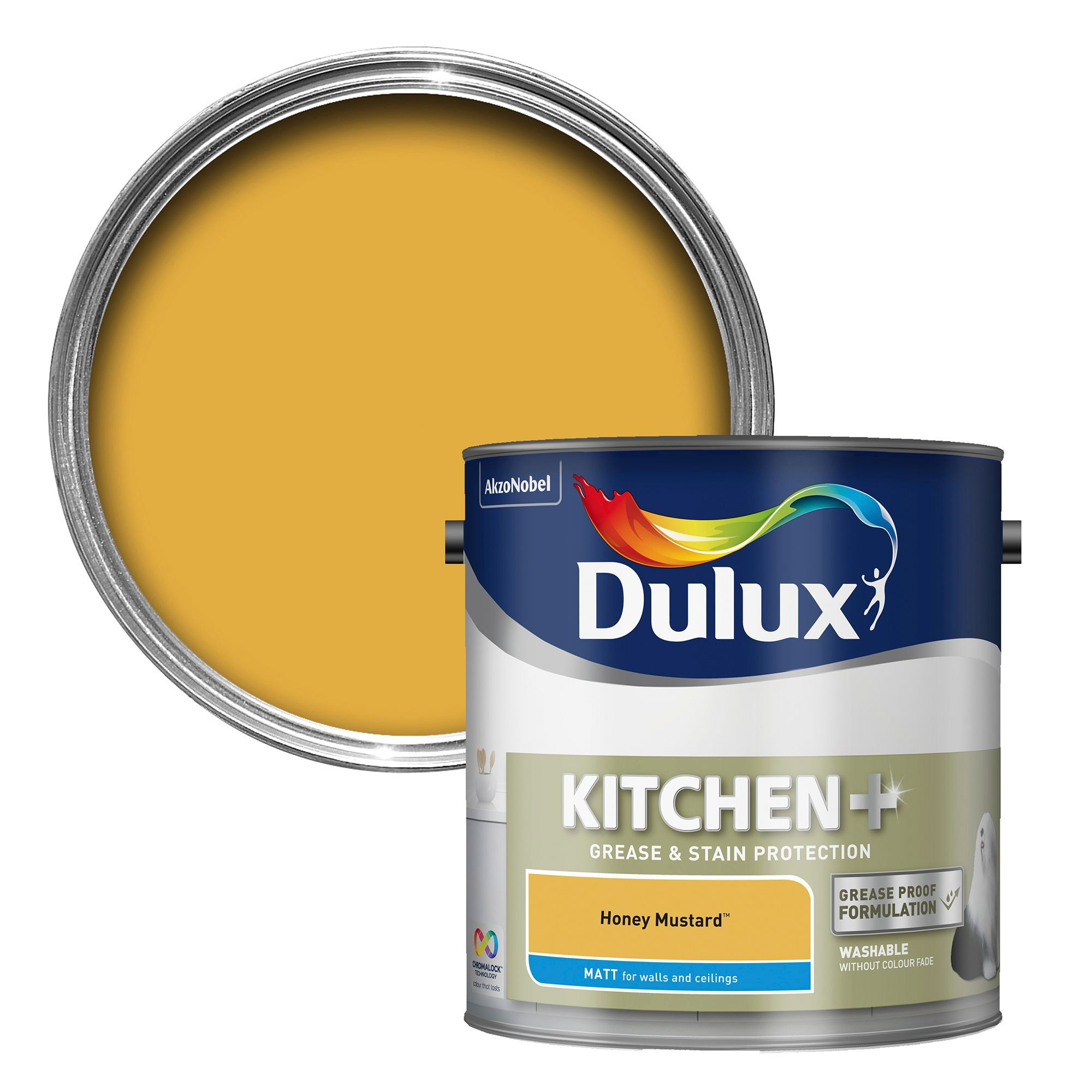 dulux kitchen honey mustard matt emulsion paint 2 5l. Black Bedroom Furniture Sets. Home Design Ideas