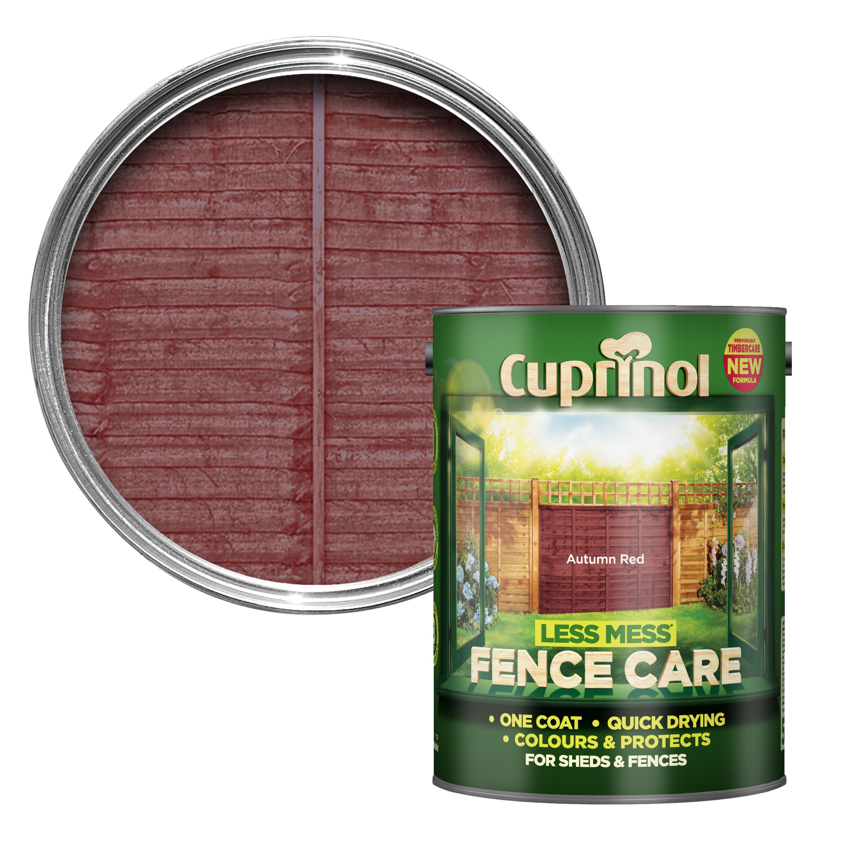 Cuprinol Less Mess Fence Care Autumn Red Matt Wood Paint 5 Departments Diy At B Q