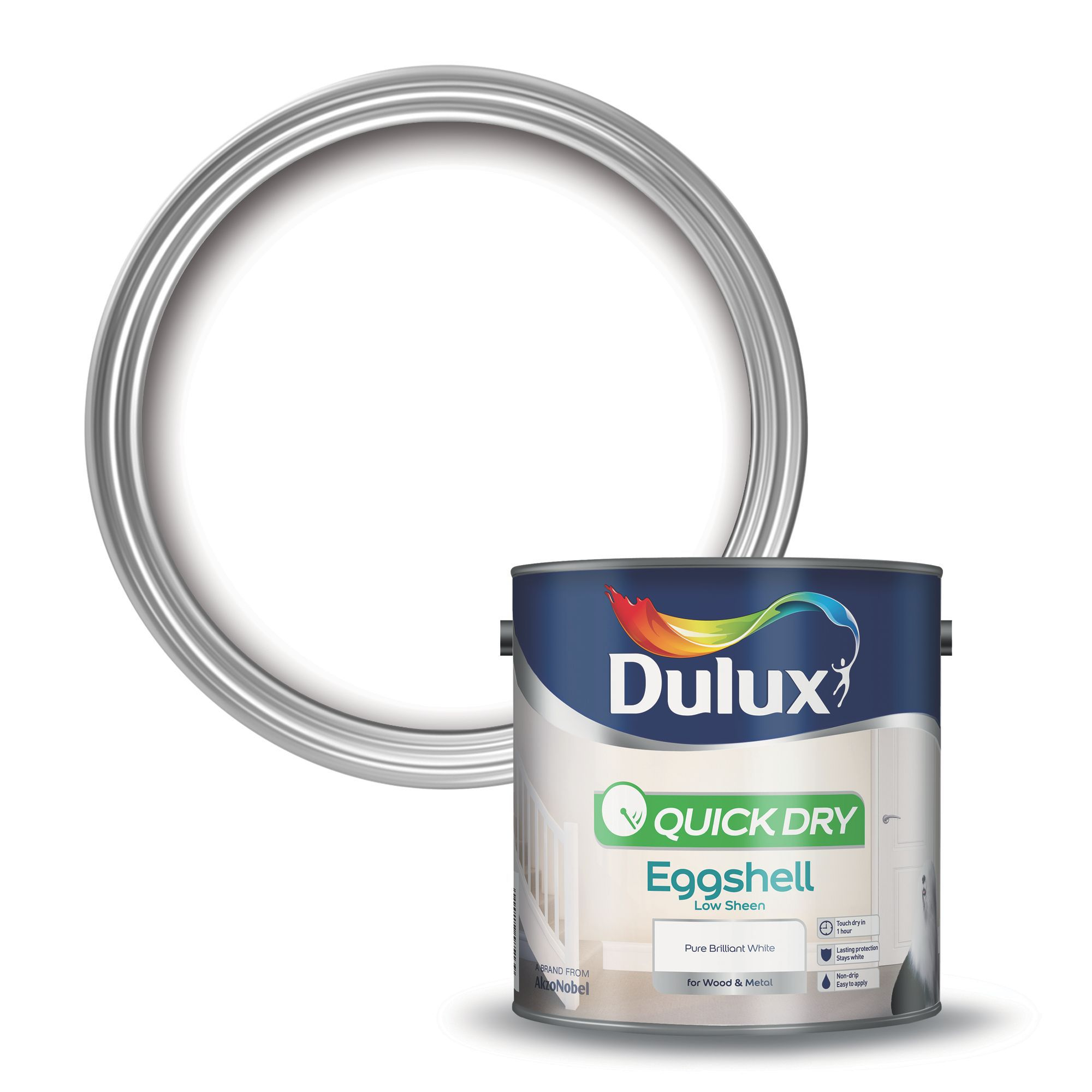 Dulux Pure Brilliant White Eggshell Wood Metal Paint 2 5l Departments Tradepoint