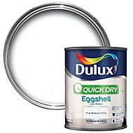Dulux Pure brilliant white Eggshell Wood & metal paint 0.75L