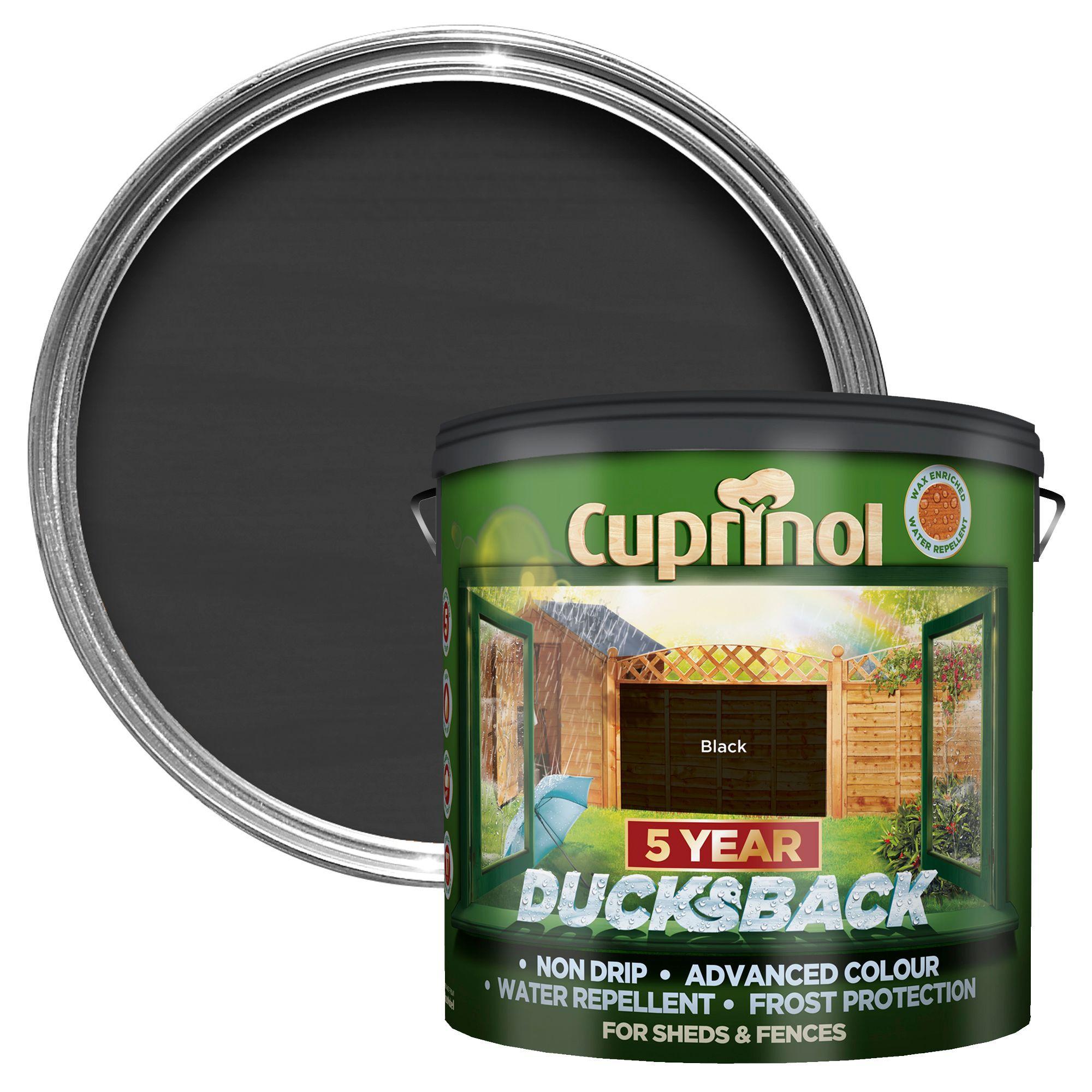 Cuprinol 5 Year Ducksback Black Matt Shed & Fence Treatment 9L |  Departments | DIY at B&Q