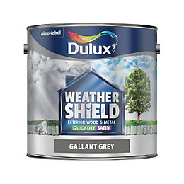 Dulux Weathershield Exterior Gallant grey Satin Paint 2.5L