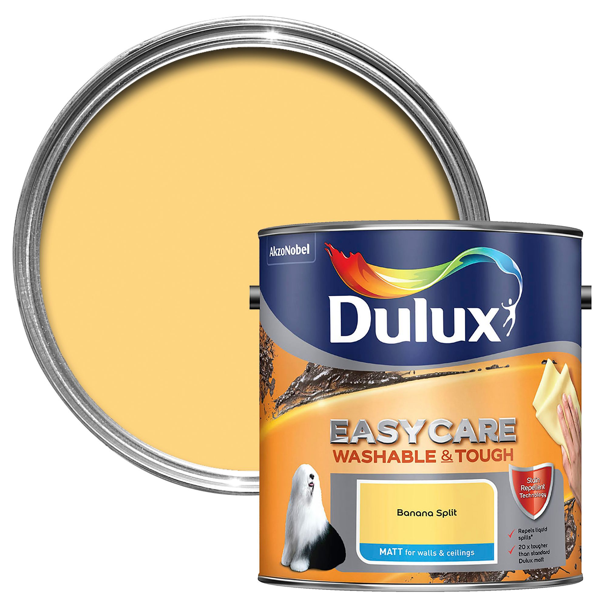 Dulux Easycare Banana Split Matt Emulsion Paint 2.5L | Departments ...