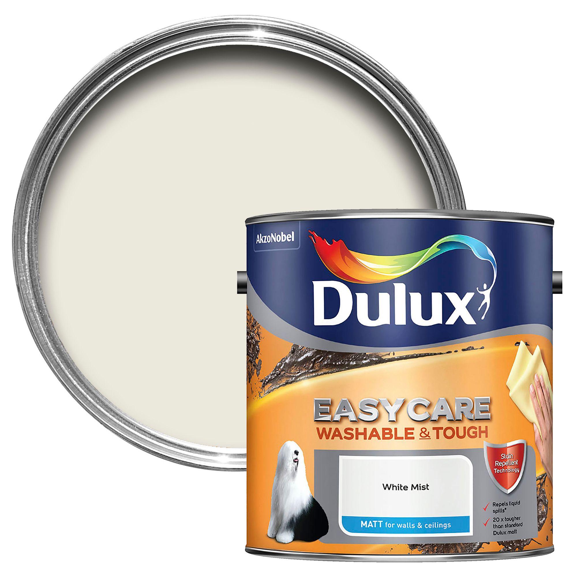 Dulux Easycare White Mist Matt Emulsion Paint 2 5l Departments Diy At B Q