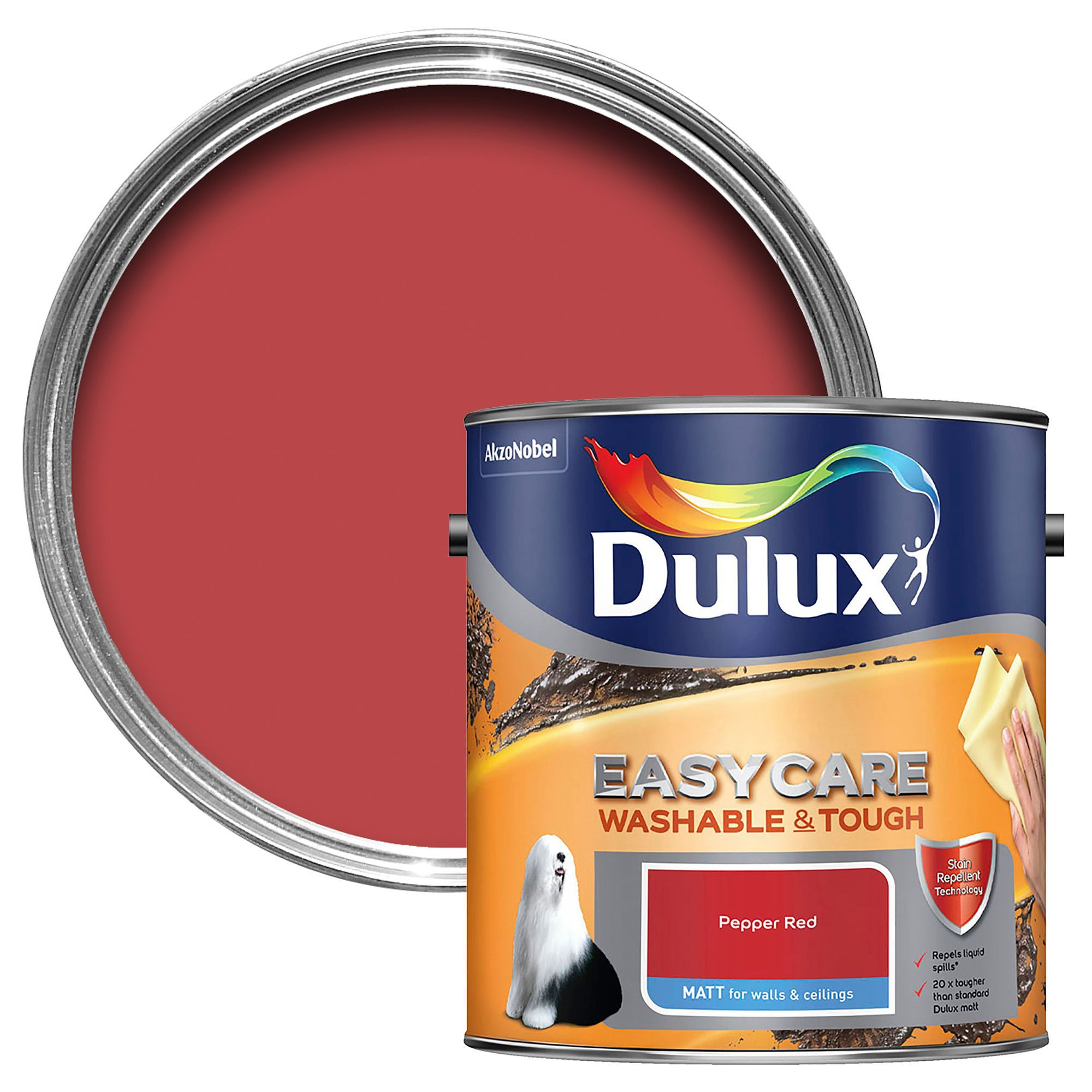 Dulux Easycare Pepper Red Matt Emulsion Paint 2 5l Departments Diy At B Q