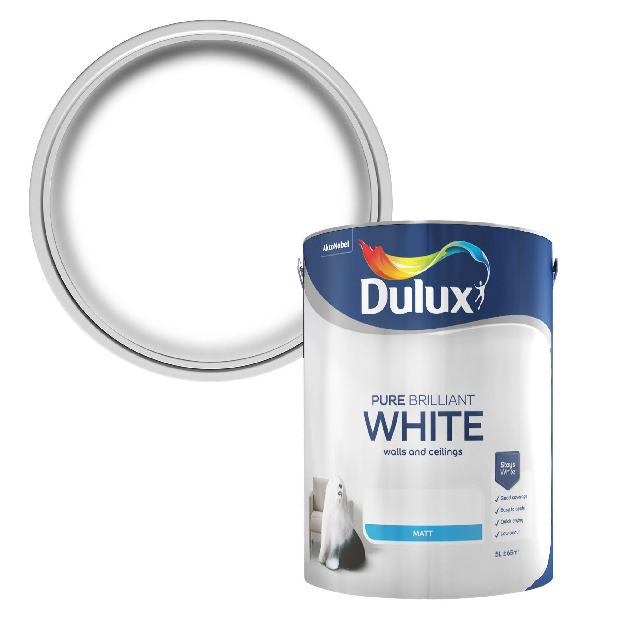 Dulux Pure brilliant white Matt Emulsion paint, 5L | Departments | DIY at  B&Q
