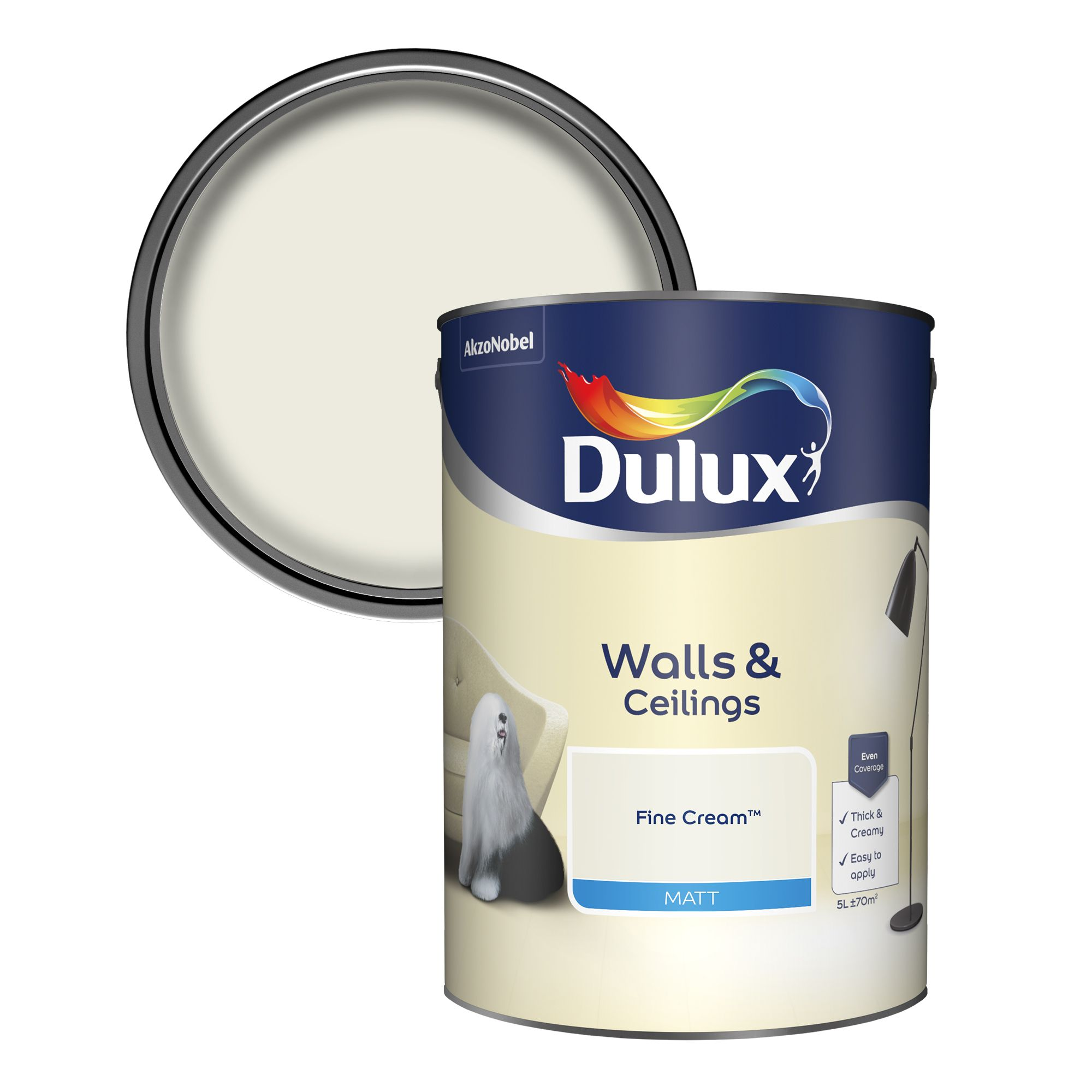 Dulux Fine cream Matt Emulsion paint, 5L | Departments ...