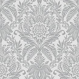Crown Signature foil Silver effect Damask Metallic Wallpaper