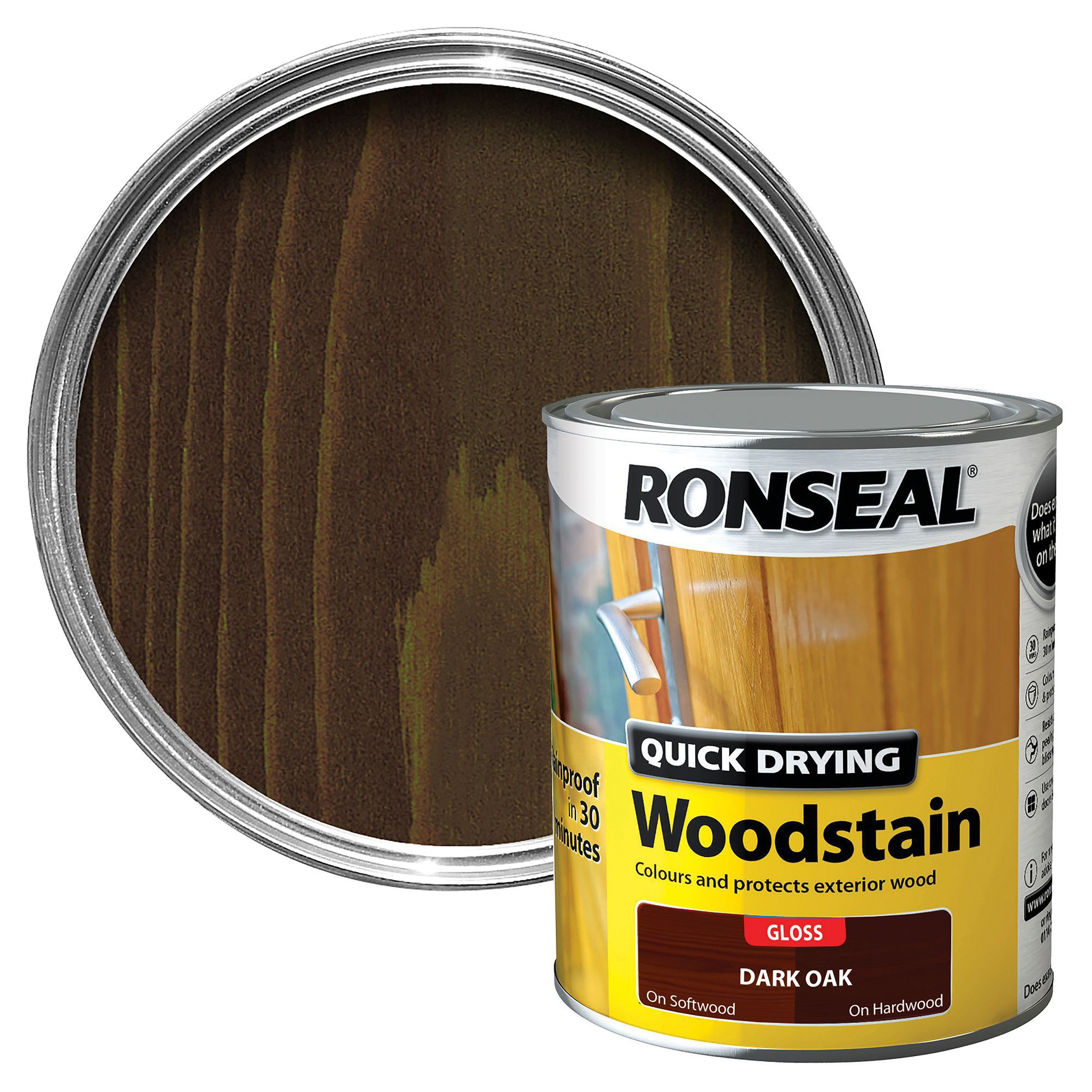 High Quality Ronseal Dark Oak Gloss Woodstain 0.75L | Departments | DIY At Bu0026Q