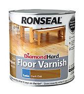 Ronseal Diamond hard Dark oak Satin Floor varnish 2.5L