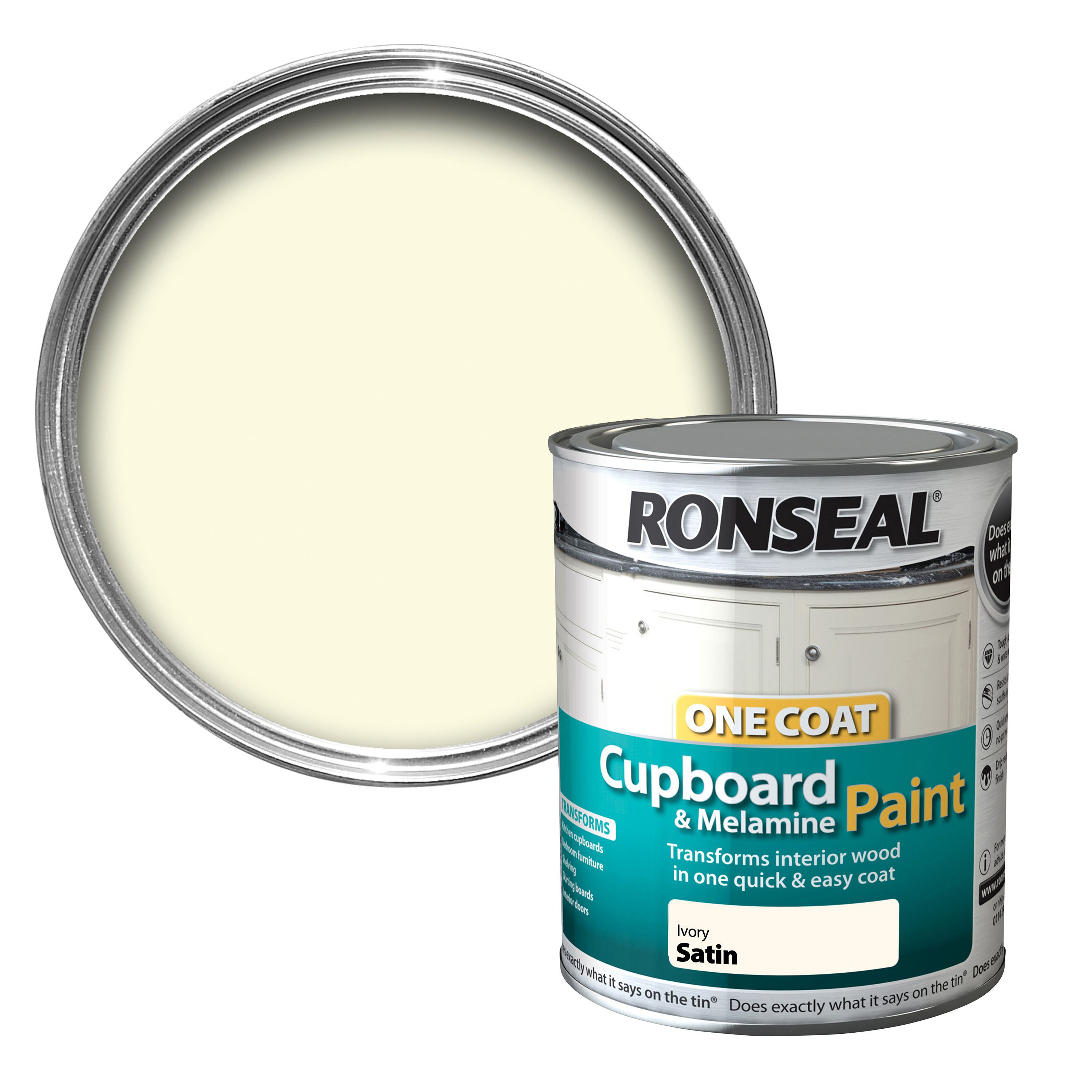 ronseal one coat ivory satin cupboard paint 750 ml departments