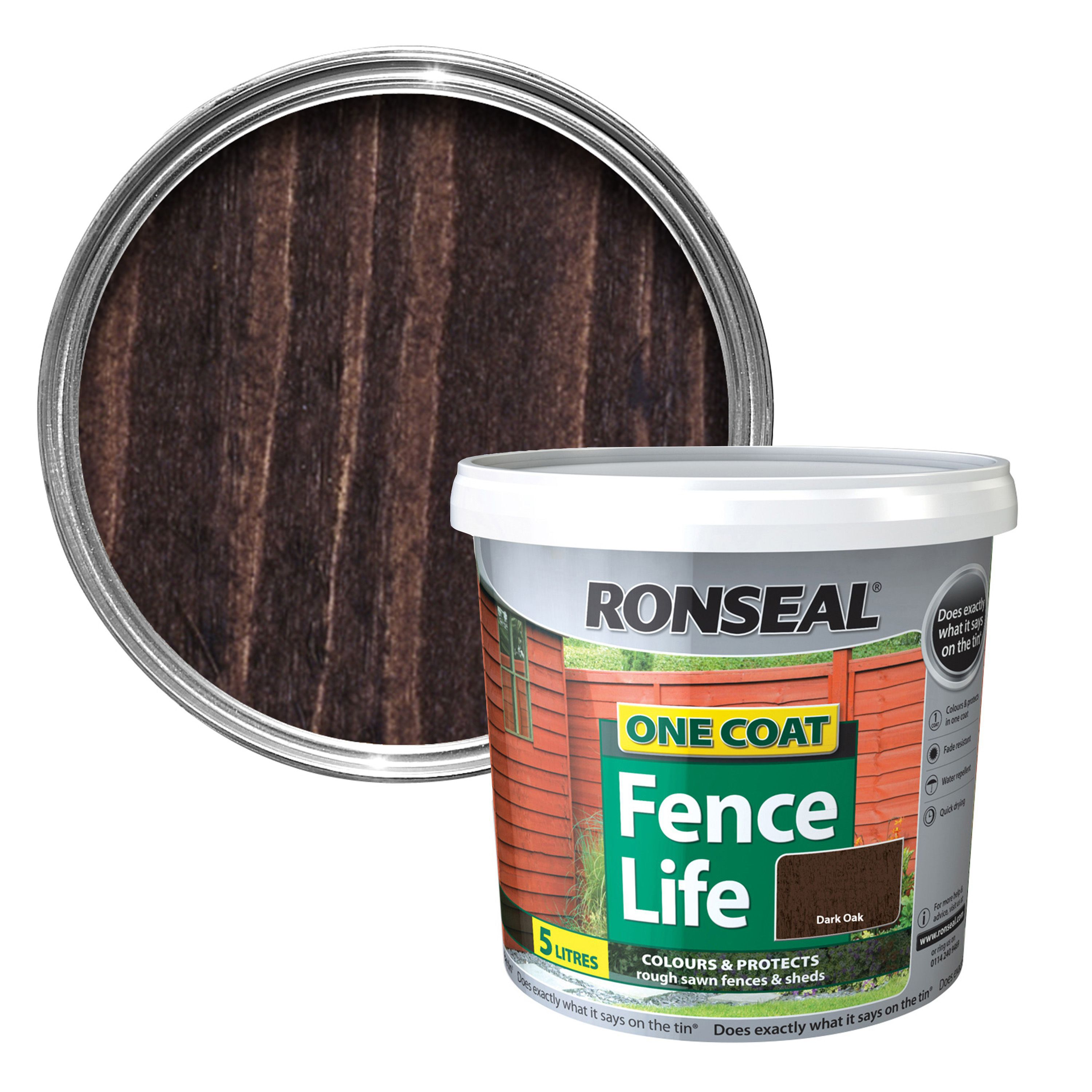 Ronseal One Coat Dark Oak Matt Shed Fence Stain 5l Departments Diy At B Q