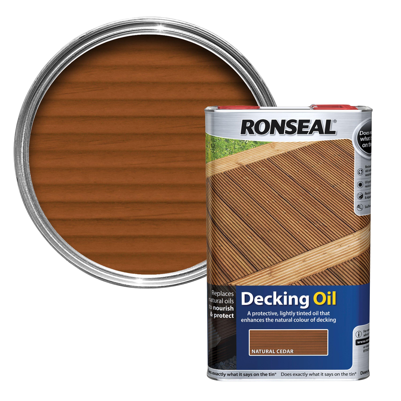 ronseal natural cedar decking oil 5l departments diy. Black Bedroom Furniture Sets. Home Design Ideas
