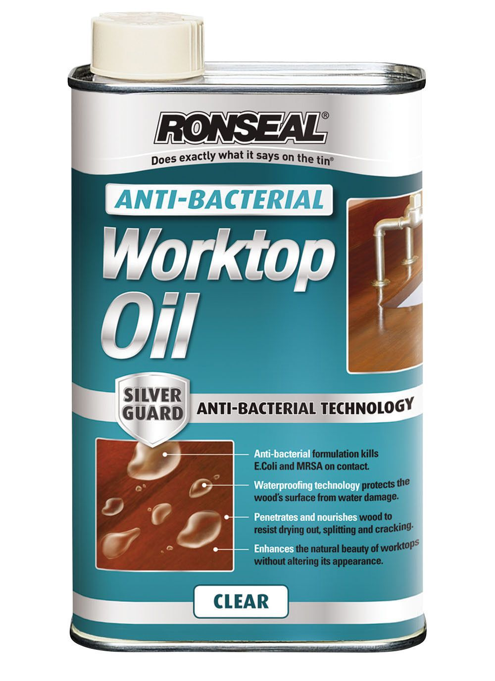 Ronseal Clear Matt Anti-bacterial worktop oil 0.5L | Departments ...