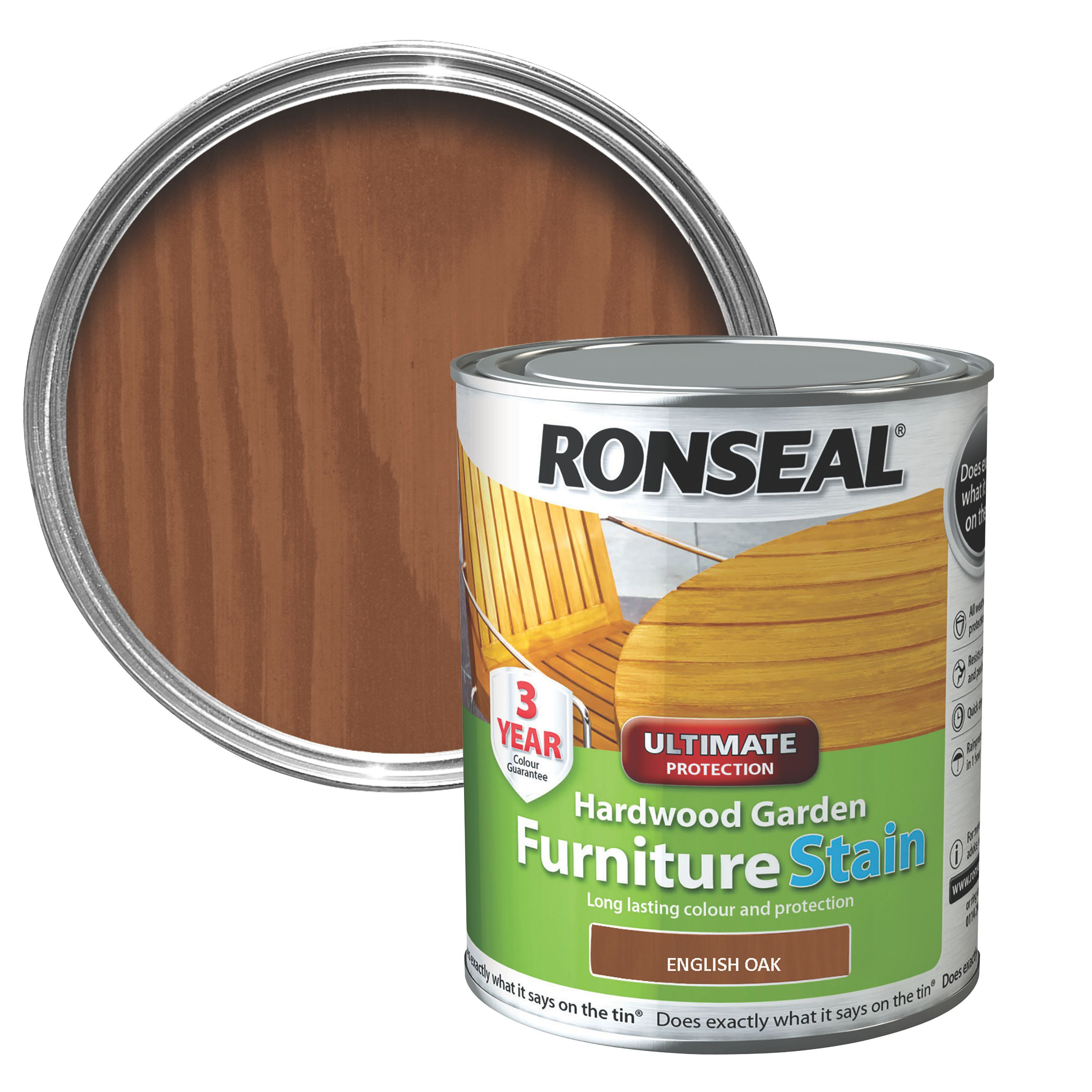 ronseal hardwood english oak hardwood garden furniture stain 075l departments diy at bq - Garden Furniture Stain
