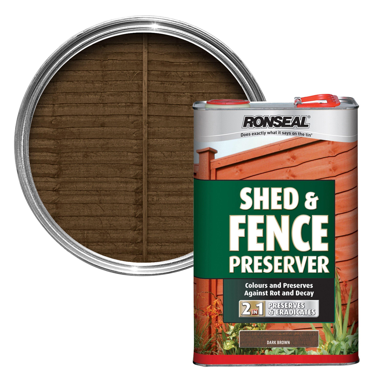 Ronseal Dark Brown Matt Shed Fence Preserver 5l Departments Diy At Bq