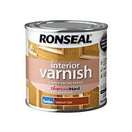 Ronseal Diamond hard Medium oak Satin Interior varnish 0.25L