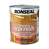 Ronseal Diamond hard Dark oak Gloss Interior varnish 0.75L