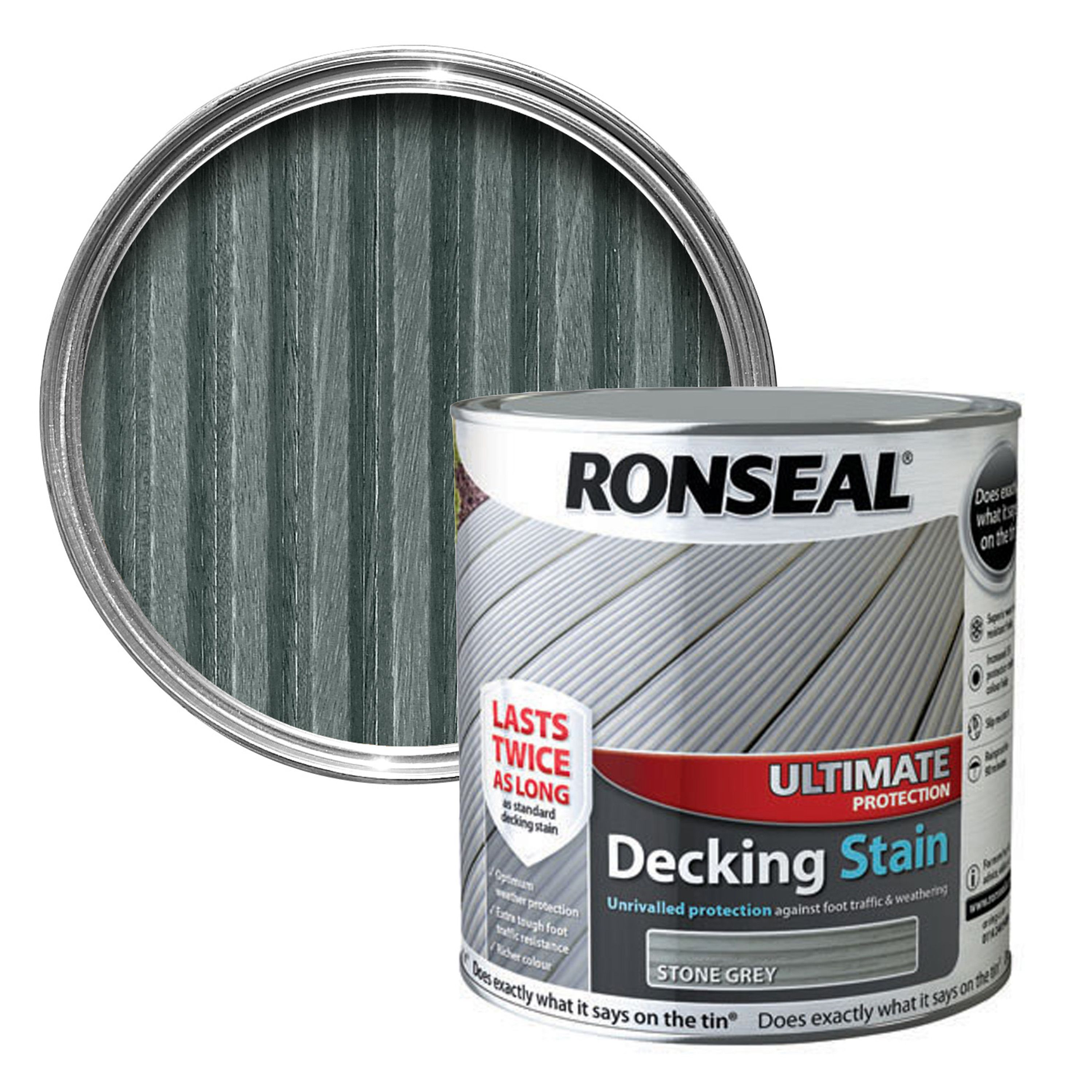 Ronseal Ultimate Stone Grey Matt Decking Stain 2 5l
