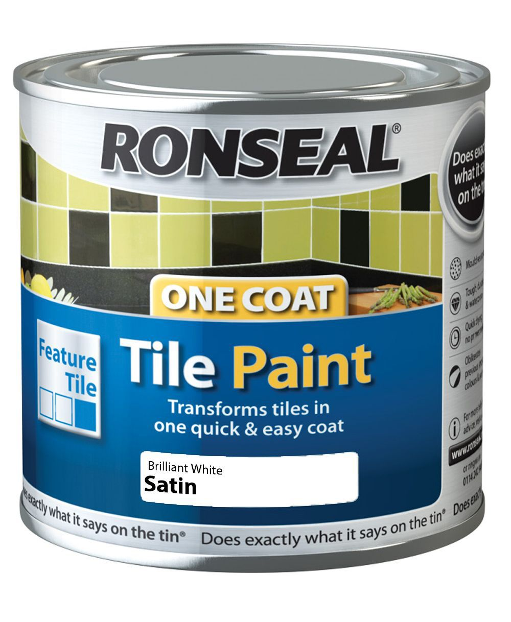 ronseal brilliant white satin tile paint0 25l departments diy at b q