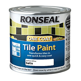 Ronseal Brilliant white Satin Tile paint0.25L
