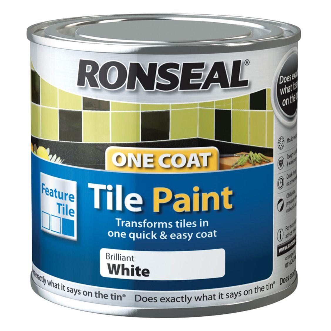 Ronseal Tile Paints Brilliant White High Gloss Tile Paint0.25L ...