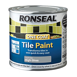 Ronseal Grey High gloss Tile paint0.25L
